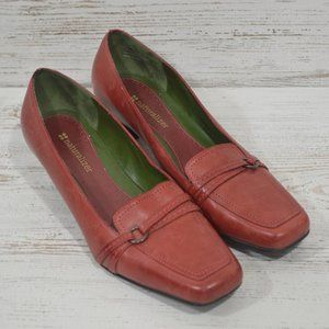 Red Leather  Naturalizer Low Heeled Pumps Size 5.5